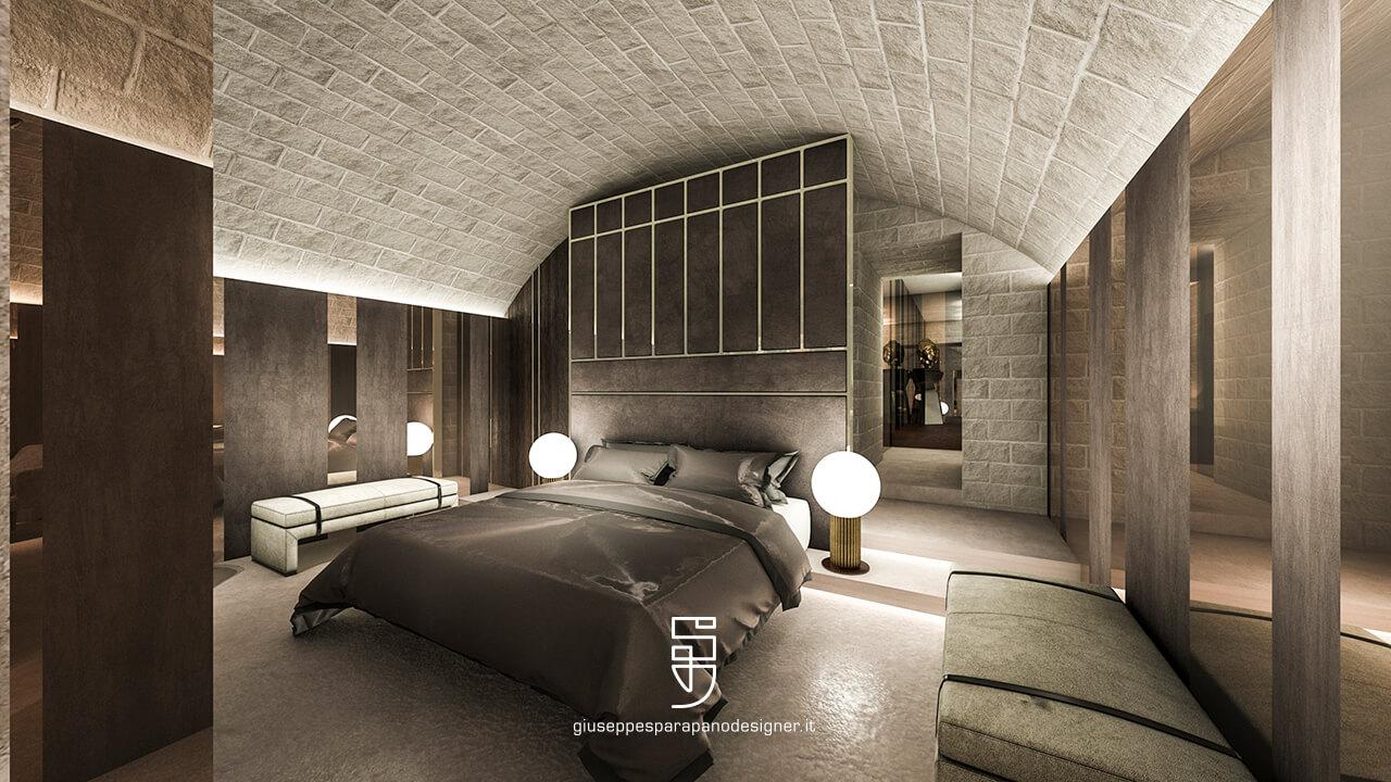camera da letto in pietra