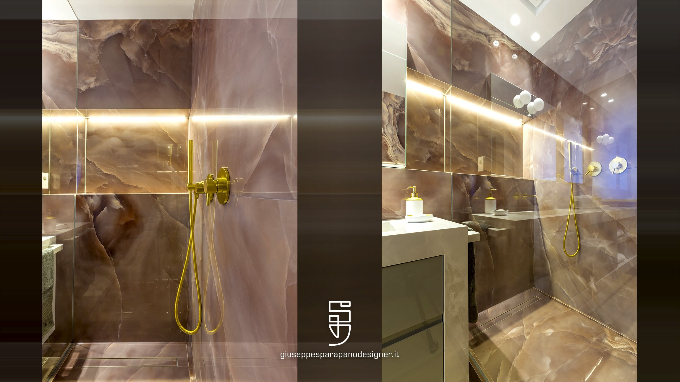 box doccia in kerlite onice rosa, arredo bagno con finitura oro