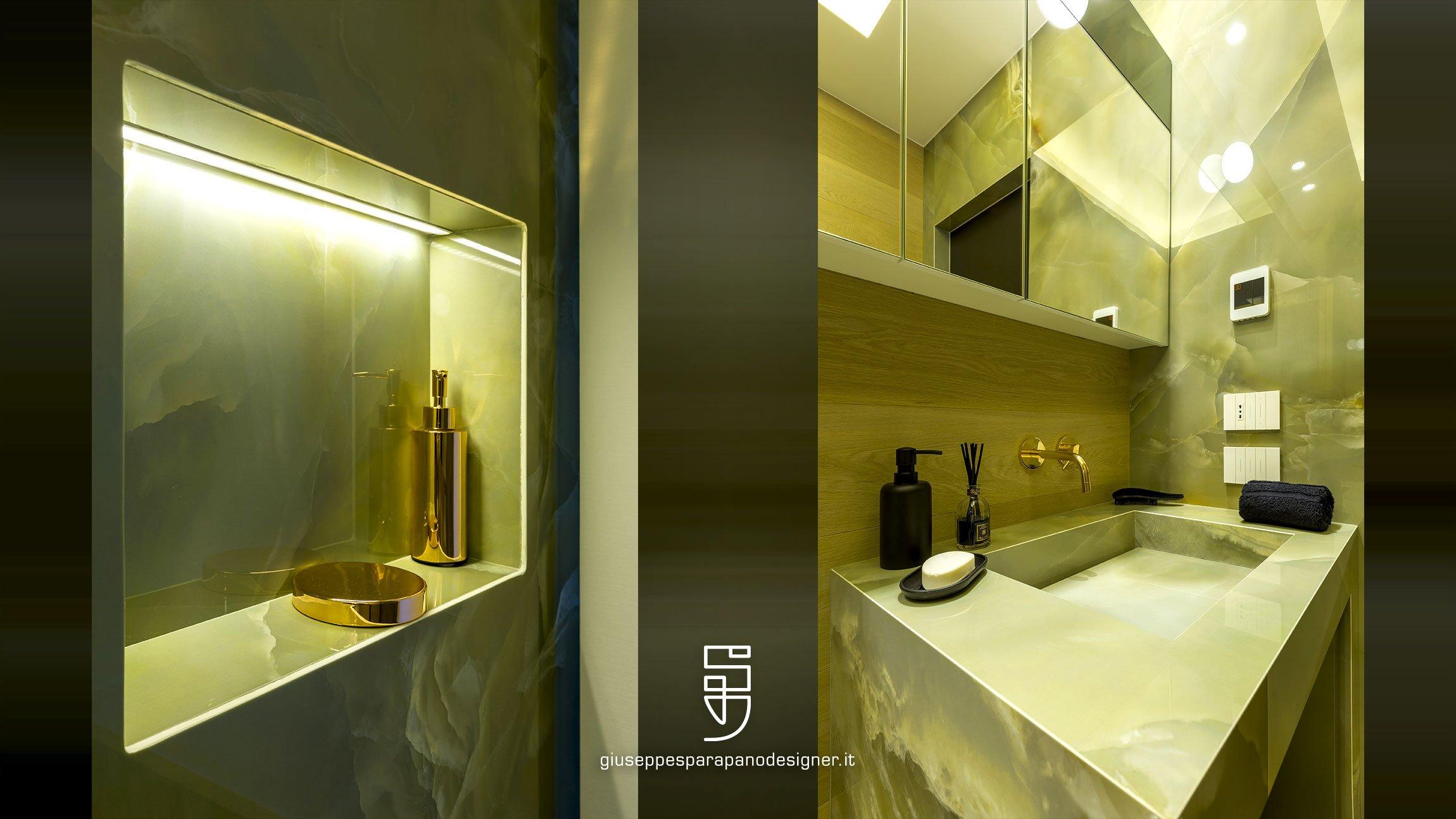 dettagli bagno con nicchia doccia e lavandino in kerlite onice verde