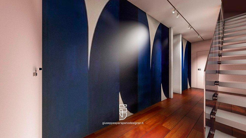 parete con porte filomuro colorate