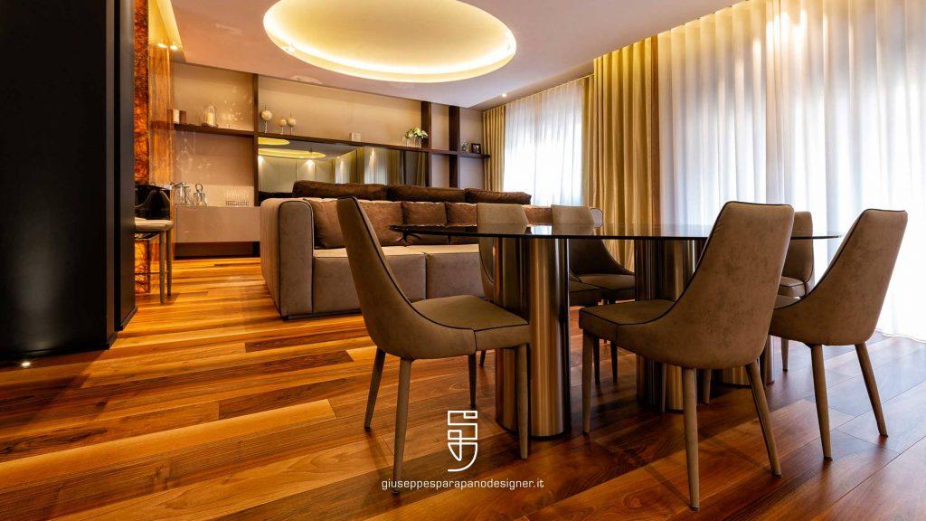 salotto con parquet in legno